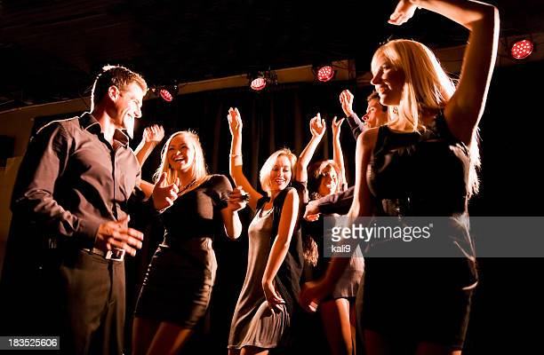 silhouette of people dancing in nightclub - dance floor stock pictures, royalty-free photos & images