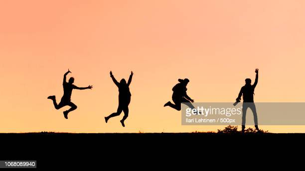 silhouette of people dancing outdoors - silhouet stockfoto's en -beelden