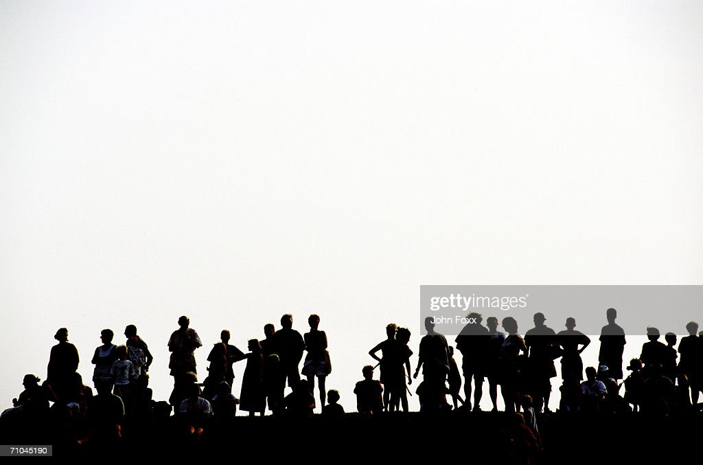 Silhouette of people on white background : Stock-Foto