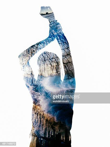Silhouette of person filled with images of water and cities
