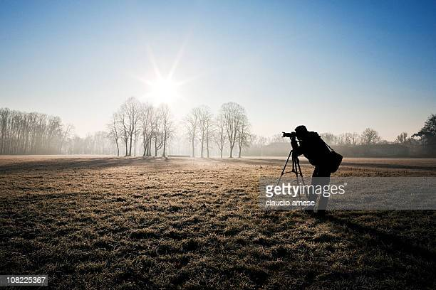 Silhouette of Photographer in Field. Sunny Day. Color Image