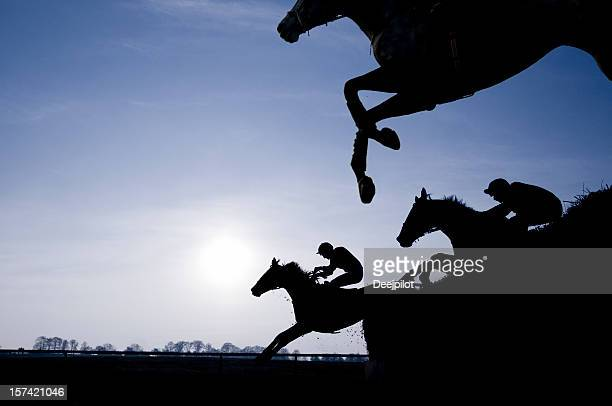 silhouette of race horses jumping a fence - horse racing stock pictures, royalty-free photos & images