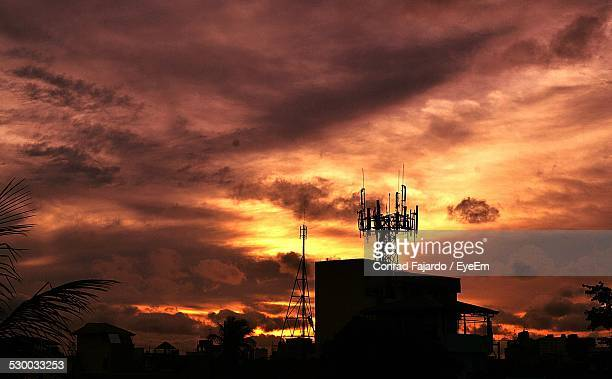 Silhouette Of Radio Tower On Building