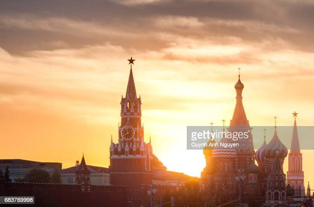 Silhouette of Red square at sunset, Moscow, Russia