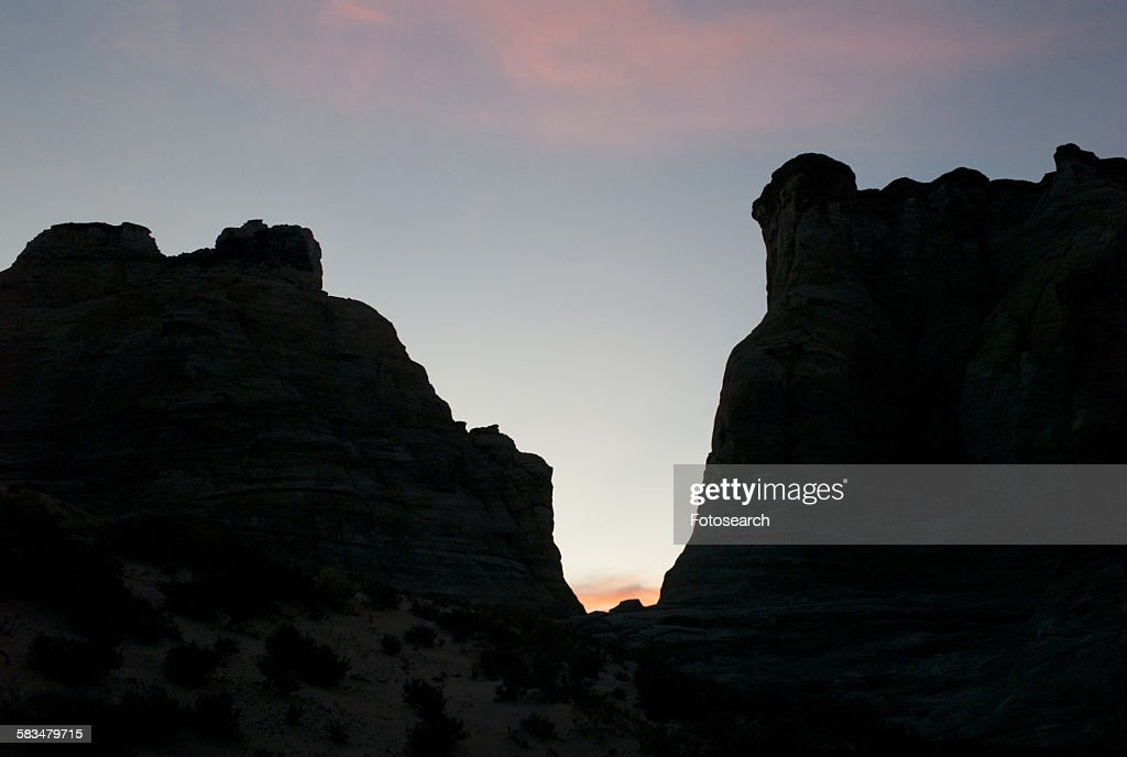 Silhouette of rock formations : Stock Photo
