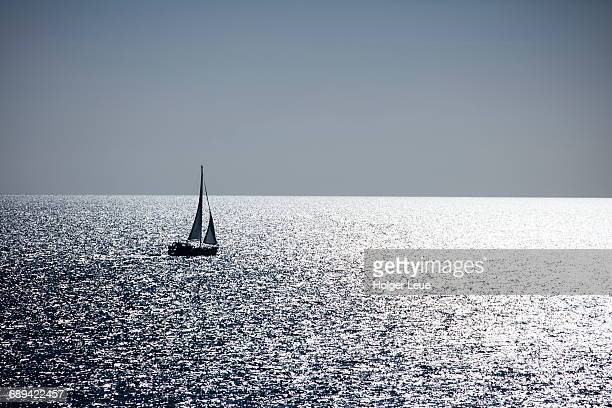 Silhouette of sailboat in the Kattegat Sea