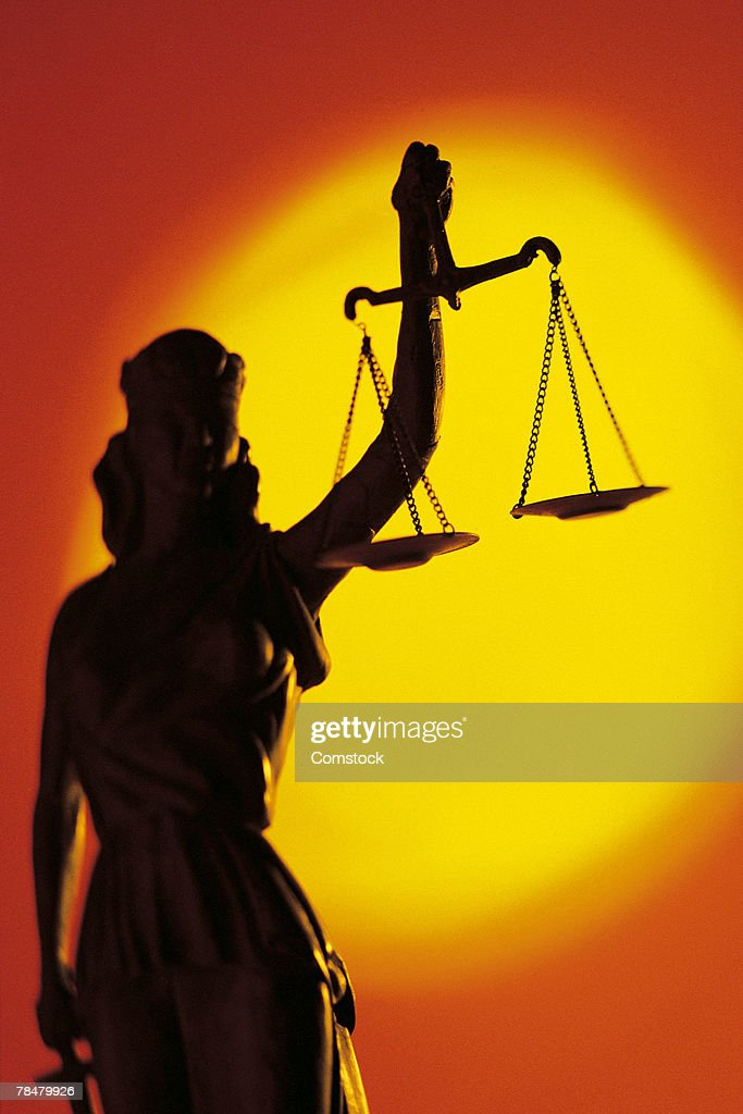 Silhouette of scales of justice : Stock Photo