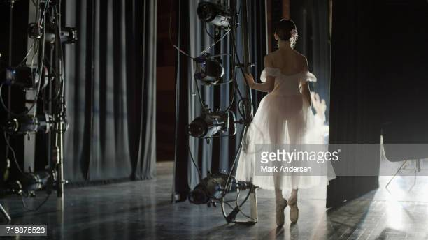 silhouette of serious ballet dancer in costume ready to dance onstage during show - entre bastidores fotografías e imágenes de stock
