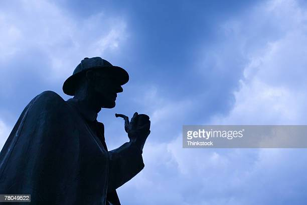 silhouette of sherlock holmes statue, london, england - sherlock holmes stock pictures, royalty-free photos & images