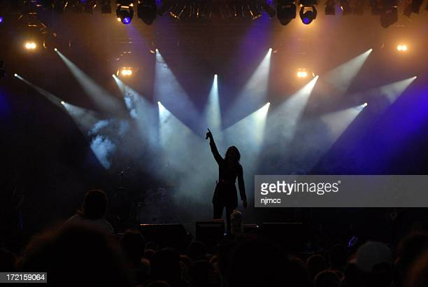 Silhouette of singer performing on stage under spotlights
