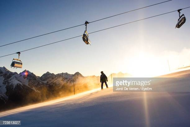 Silhouette Of Snowboarder On Slope