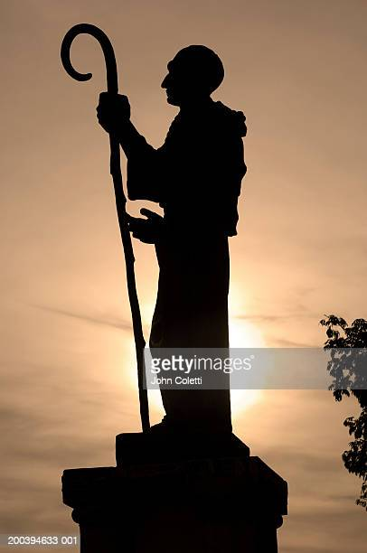 Silhouette of statue, side view