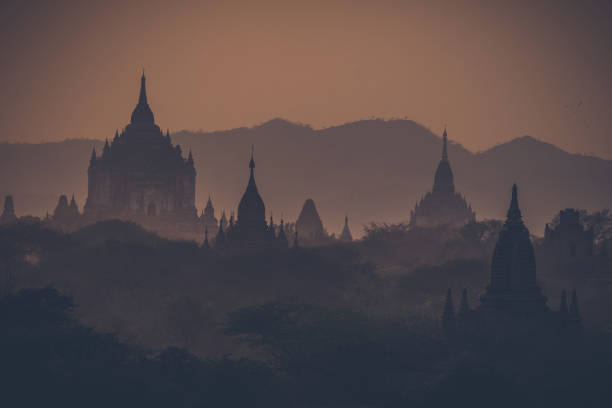 Silhouette of temples in bagan heritage site from above
