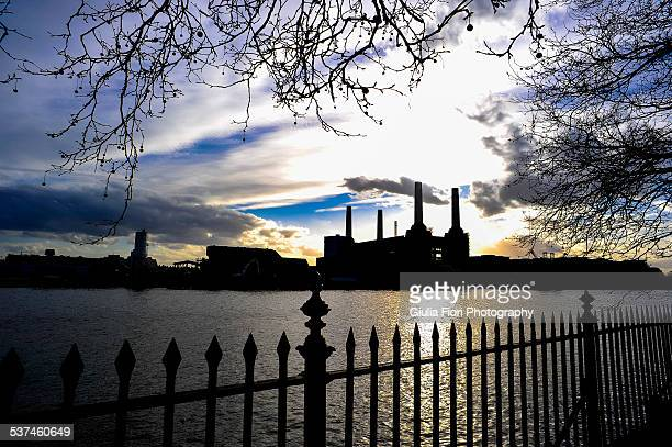 Silhouette of the Battersea Power Station, London