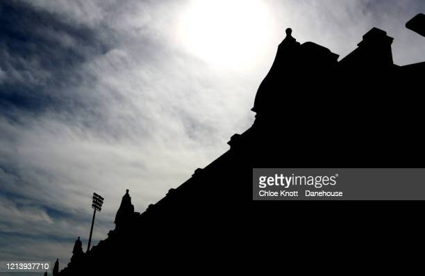 A silhouette of the outside of Craven Cottage home of Fulham FC is seen as football in England remains suspended due to Covid19 on March 21 2020 in...