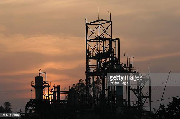 Silhouette of the Union Carbide plant at dusk Twenty years after the world's worst industrial disaster at the Union Carbide pesticide plant in Bhopal...