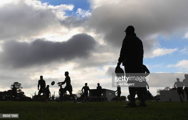 A silhouette of the Wallabies during a Australian Wallaby training session held at Westerford High School on August 4 2009 in Cape Town South Africa