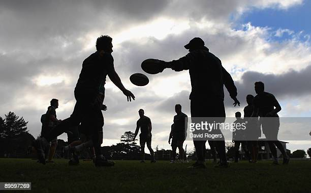 A silhouette of the Wallabies training during a Australian Wallaby training session held at Westerford High School on August 4 2009 in Cape Town...
