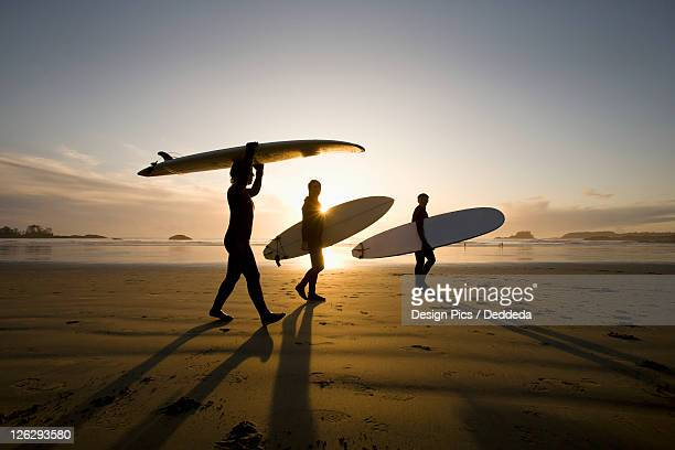 silhouette of three surfers carrying surfboards