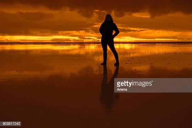 Silhouette of tourist posing on the Salar de Uyuni Salar de Tunupa at sunset world's largest salt flat Daniel Campos Province in Potosi Bolivia