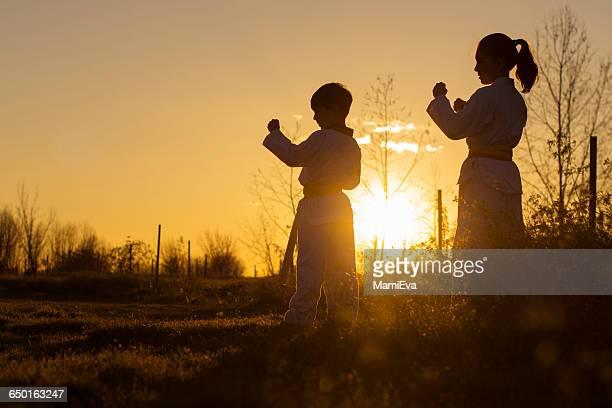 silhouette of two children practicing taekwondo at sunset - artes marciais imagens e fotografias de stock