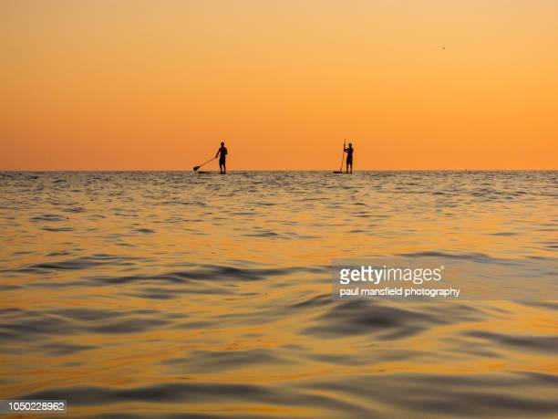 Silhouette of two paddleboarders