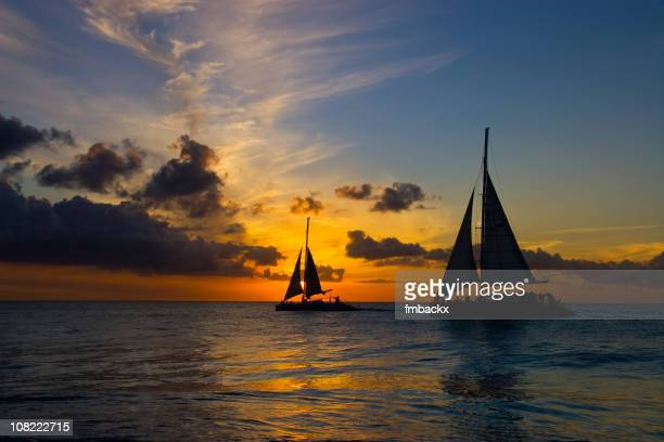 silhouette of two sailboats on ocean at sunset - catamaran stock photos and pictures
