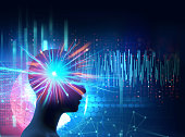 silhouette of virtual human on brain delta wave form 3d illustration