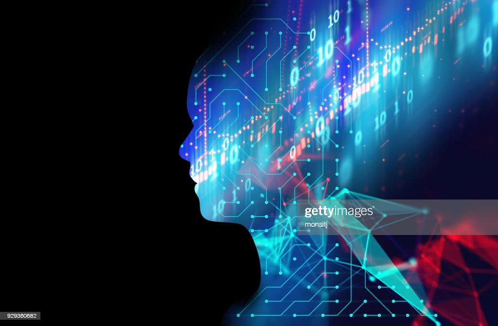 silhouette of virtual human on circuit pattern technology 3d illustration : Stock Photo