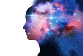 silhouette of virtual human with aura chakras on space nebula 3d illustration