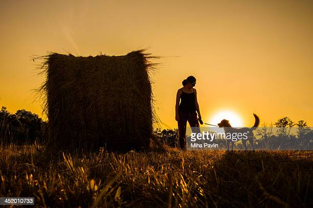 Silhouette of woman and dog at sunset