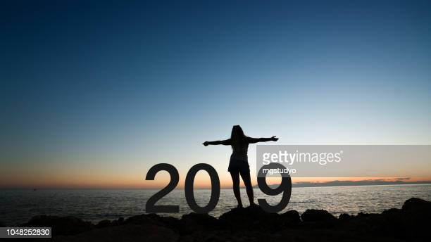silhueta de mulher na praia 2019 - 2019 - fotografias e filmes do acervo