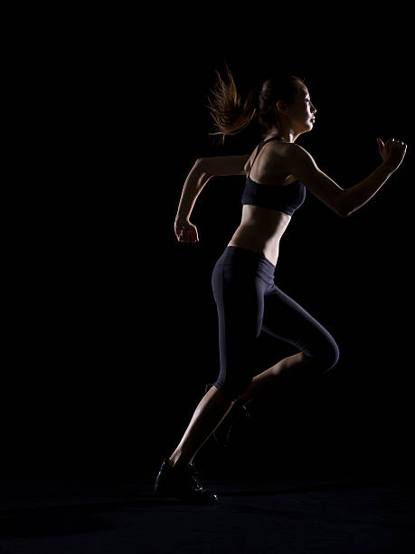 Silhouette Of Woman Running Wall Art