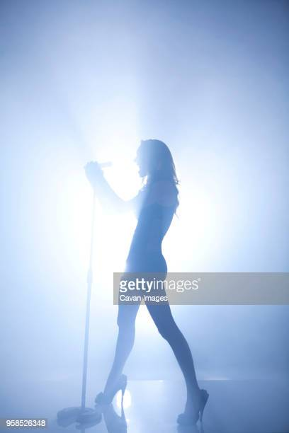 silhouette of woman singing at concert - chanteur photos et images de collection