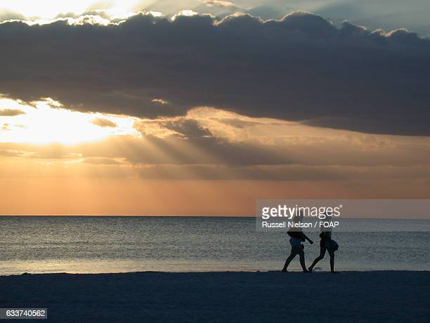 silhouette of women walking on beach - marco island stock pictures, royalty-free photos & images