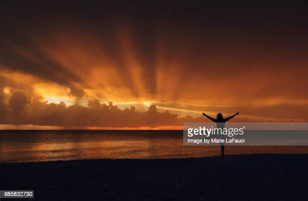 silhouette of yoga woman on the beach at sunset - marie lafauci stock pictures, royalty-free photos & images