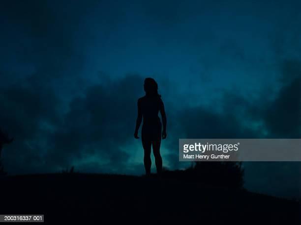 silhouette of young woman - junge frau rätsel stock-fotos und bilder