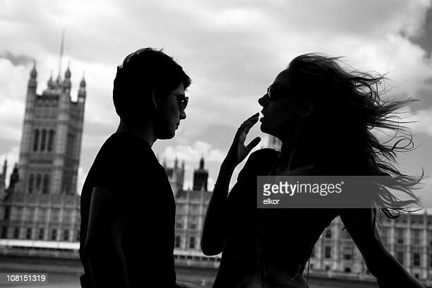 Silhouette of Young Woman's Hair Blowing in London Wind