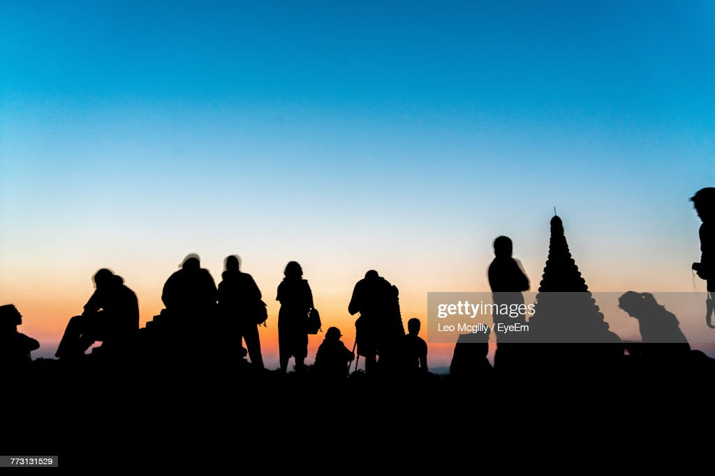 Silhouette People Against Clear Sky During Sunset : Photo