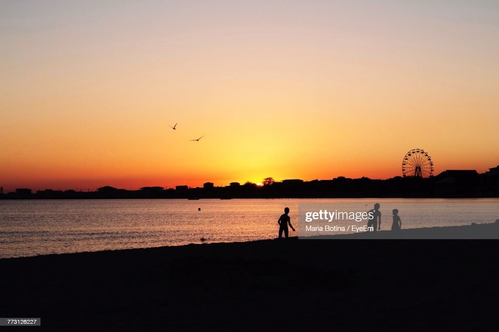 Silhouette People At Beach Against Clear Sky During Sunset : Photo
