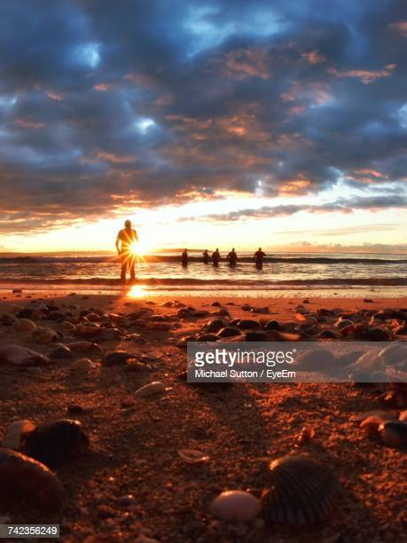 Silhouette People At Cronulla Beach Against Cloudy Sky During Sunset