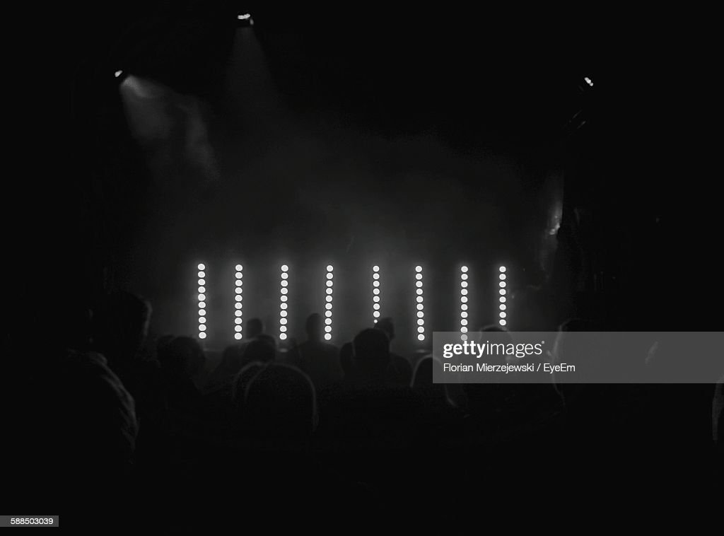 Silhouette People At Music Concert : Stock Photo