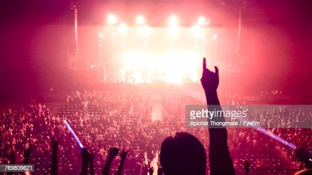 silhouette people at music concert - rock music stock pictures, royalty-free photos & images