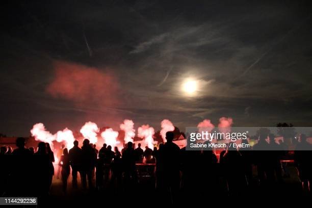 silhouette people looking at firework display at night - sabine kriesch stock-fotos und bilder