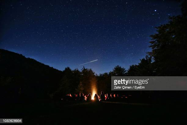 silhouette people on field against sky at night - campfire stock pictures, royalty-free photos & images
