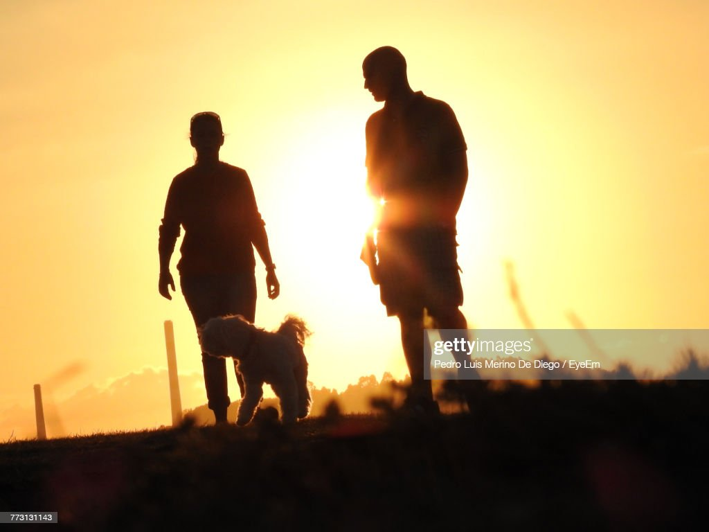 Silhouette People Standing By Dog Against Sky During Sunset : Photo