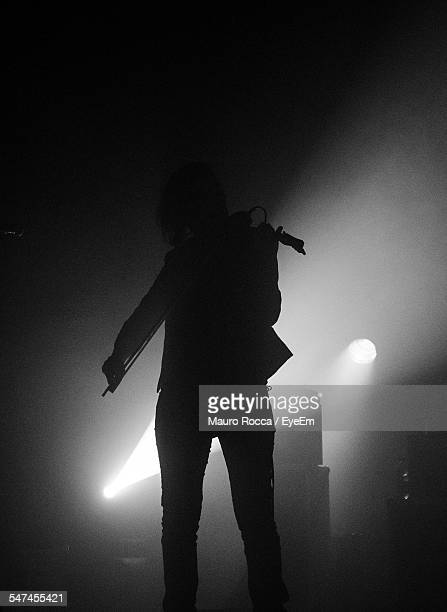 Silhouette Person Playing Violin During Music Concert