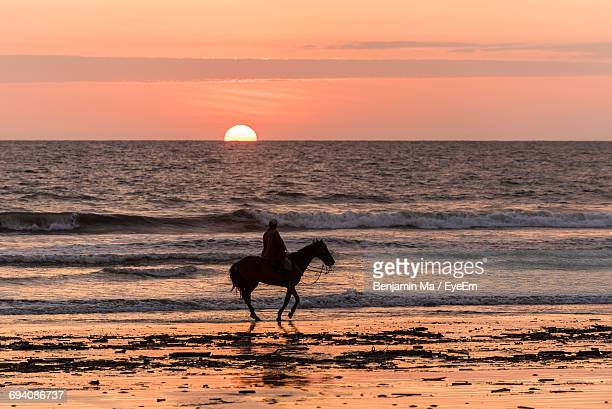 Silhouette Person Riding Horse At Beach During Sunset
