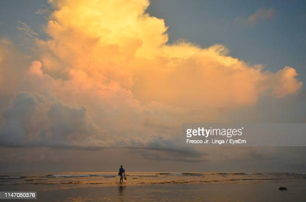 silhouette person standing on shore at beach against sky during sunset - seascape stock pictures, royalty-free photos & images