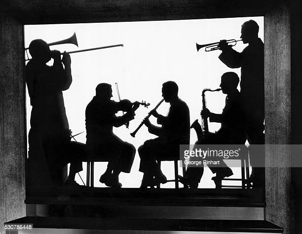 Silhouette portrait of musician Jimmy Dorsey and his orchestra A trombonist in Jimmy Dorsey's band Al Jordan became Doris Day's first husband and...